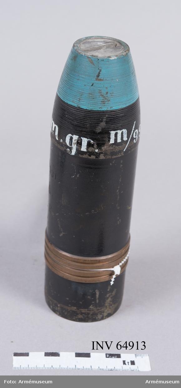 Grupp F II.  6 cm tom granat m/1899 till räfflad bakladdningsmateriel. För övning.