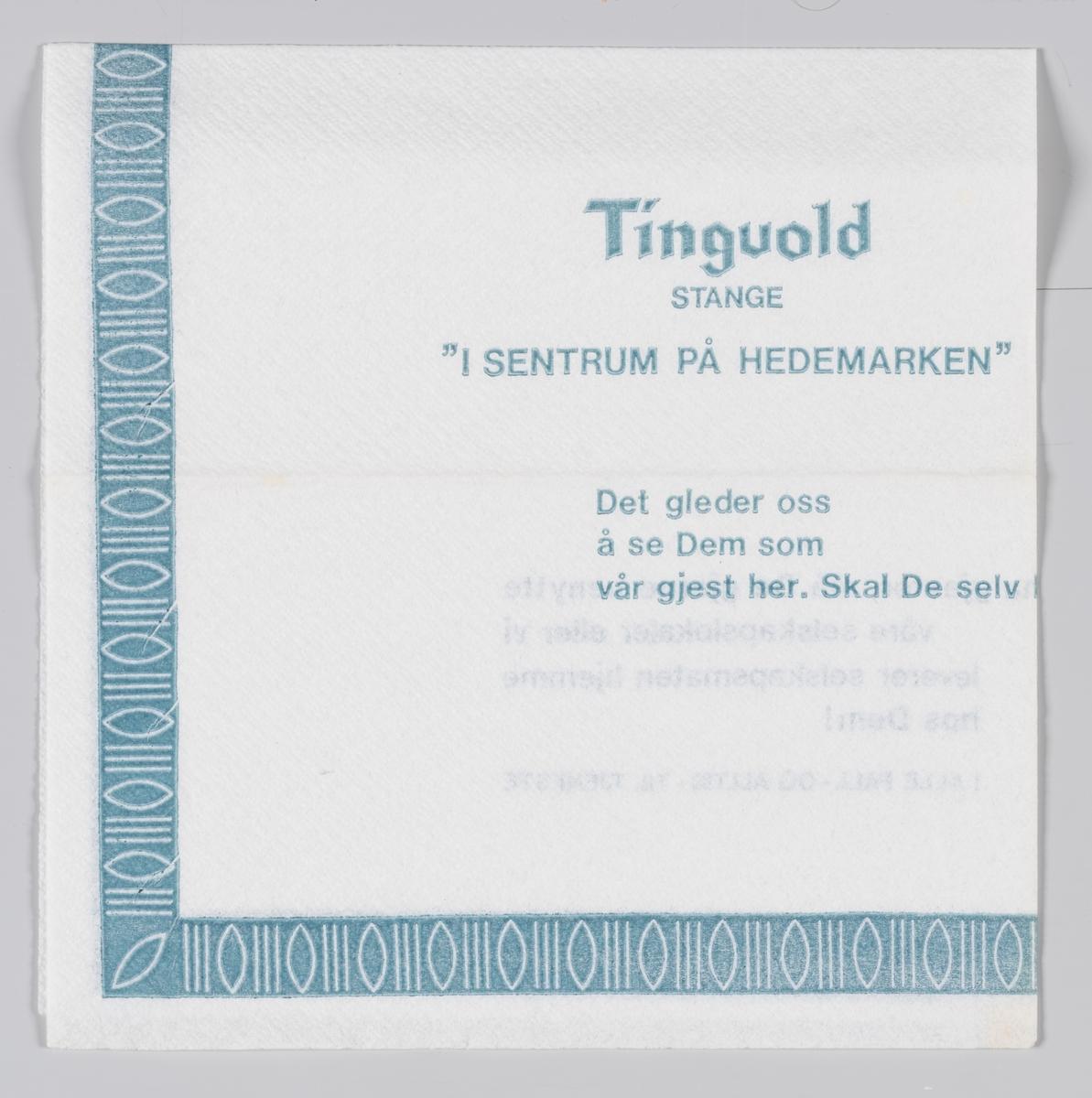 En mønsterbord langs kanten og en reklame for Tingvold restaurant Stange på Hedmarken.