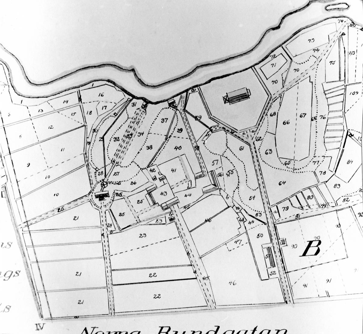 Detaljritning av skiftekarta över Holmens och Stockslycke byar 1847.  Original finns på Lantmäterikontoret Alingsås.