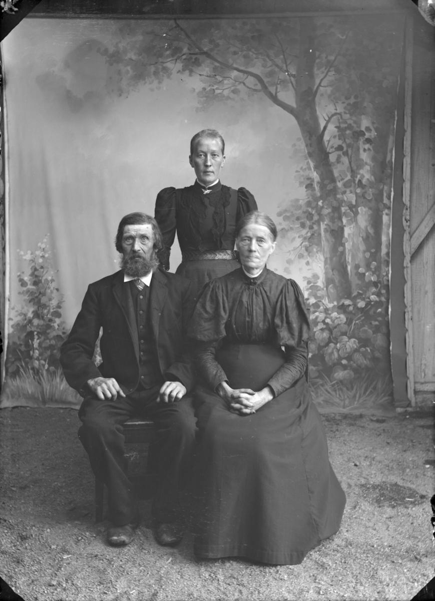 Eldre ektepar i mørk kjole/dress. Atelierfoto.