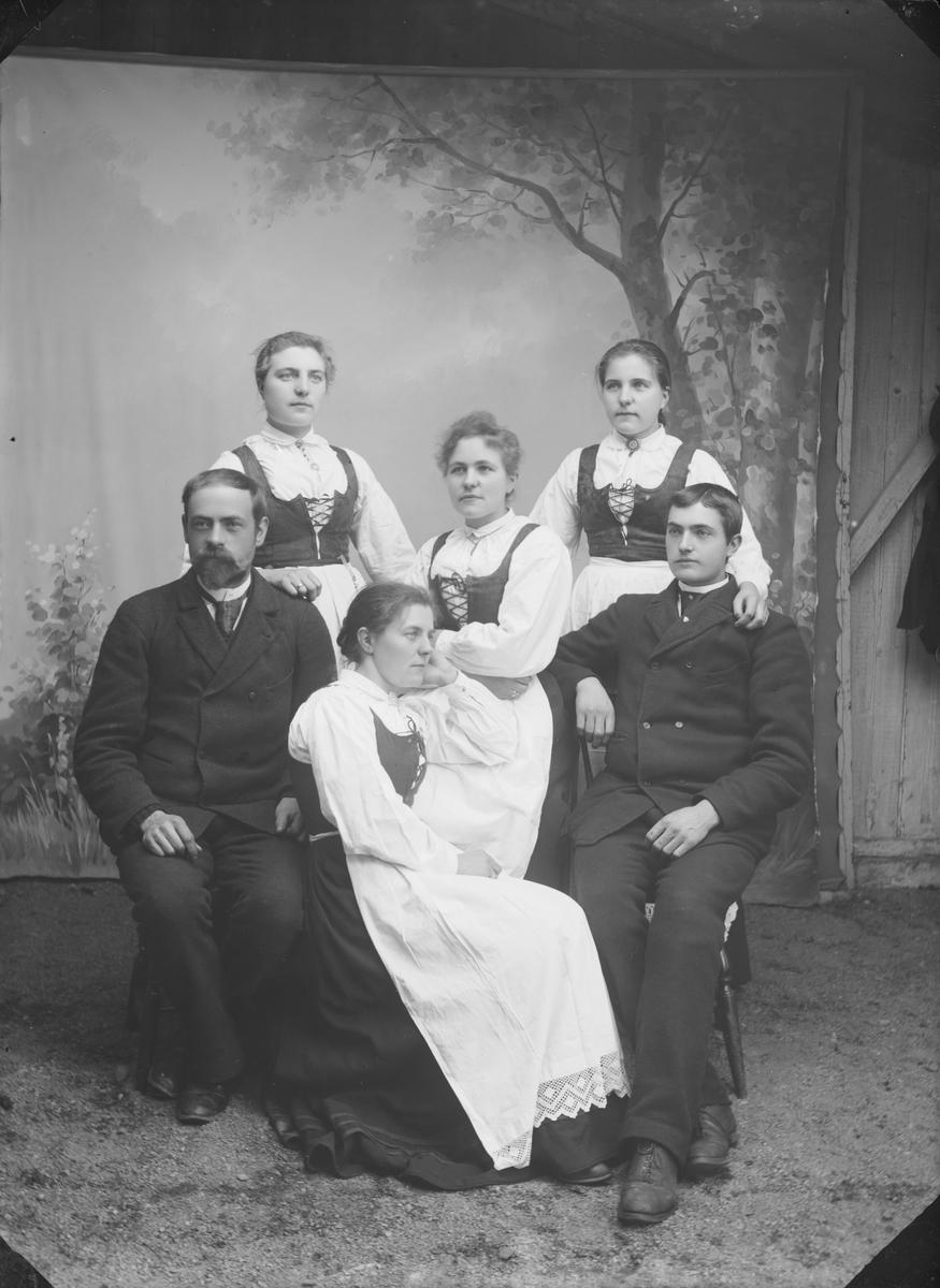 Familiebilde med 4 damer med like liv og stakker og 2 menn med mørke dresser. Atelierfoto
