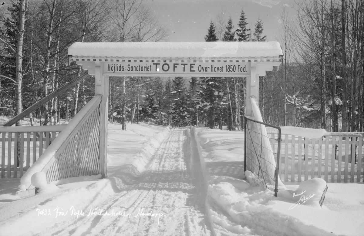 Sør-Fron. Porten ved innkjøringen til Tofte Turisthotell på Hundorp. Højlids sanatorie.