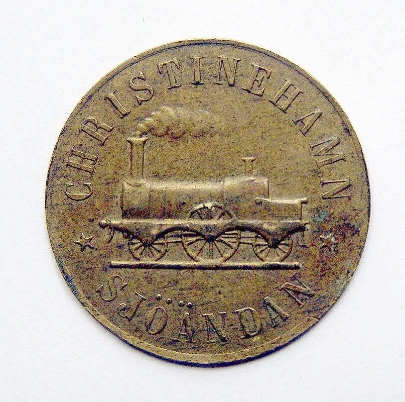 Två poletter från Christineham Sjöändans järnväg  Se även 224,1818,6868.