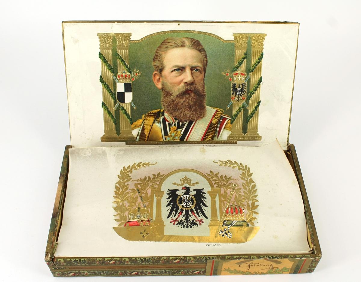 Kaiser Friedrich på etikett samt invändigt papper.