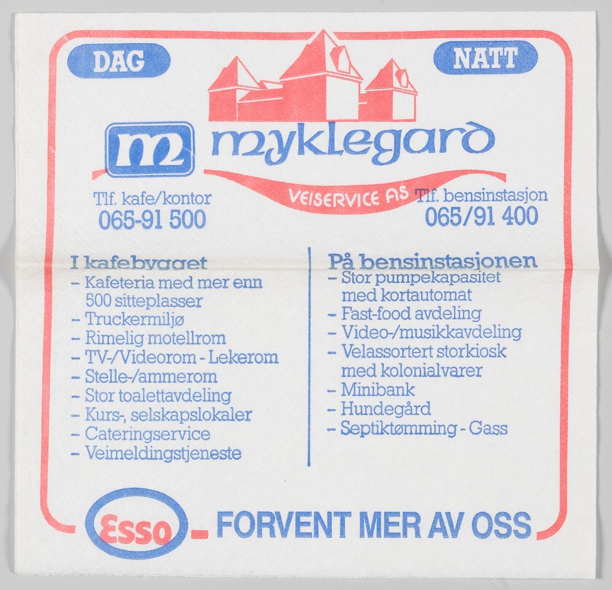 En tegning av bygningen og en reklametekst for Myklegard Veikro og Esso bensinstasjon på Løten.