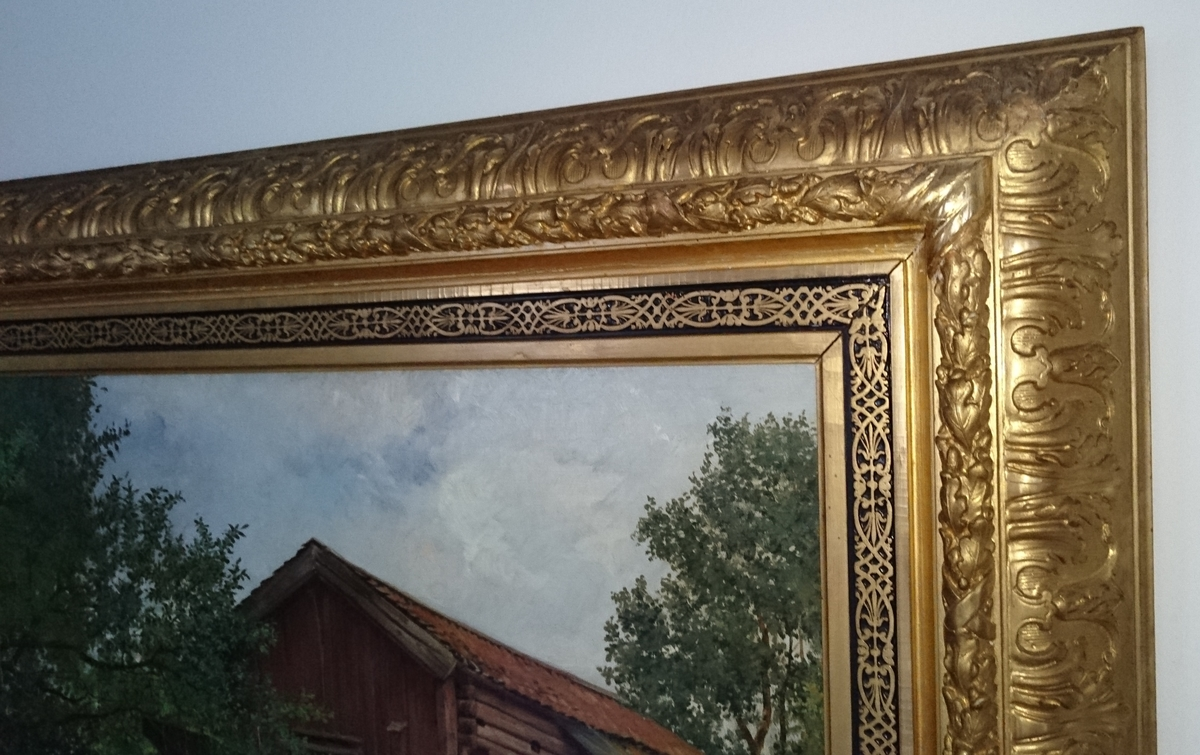 Montering/Ram: Förgylld träram med reliefdekor