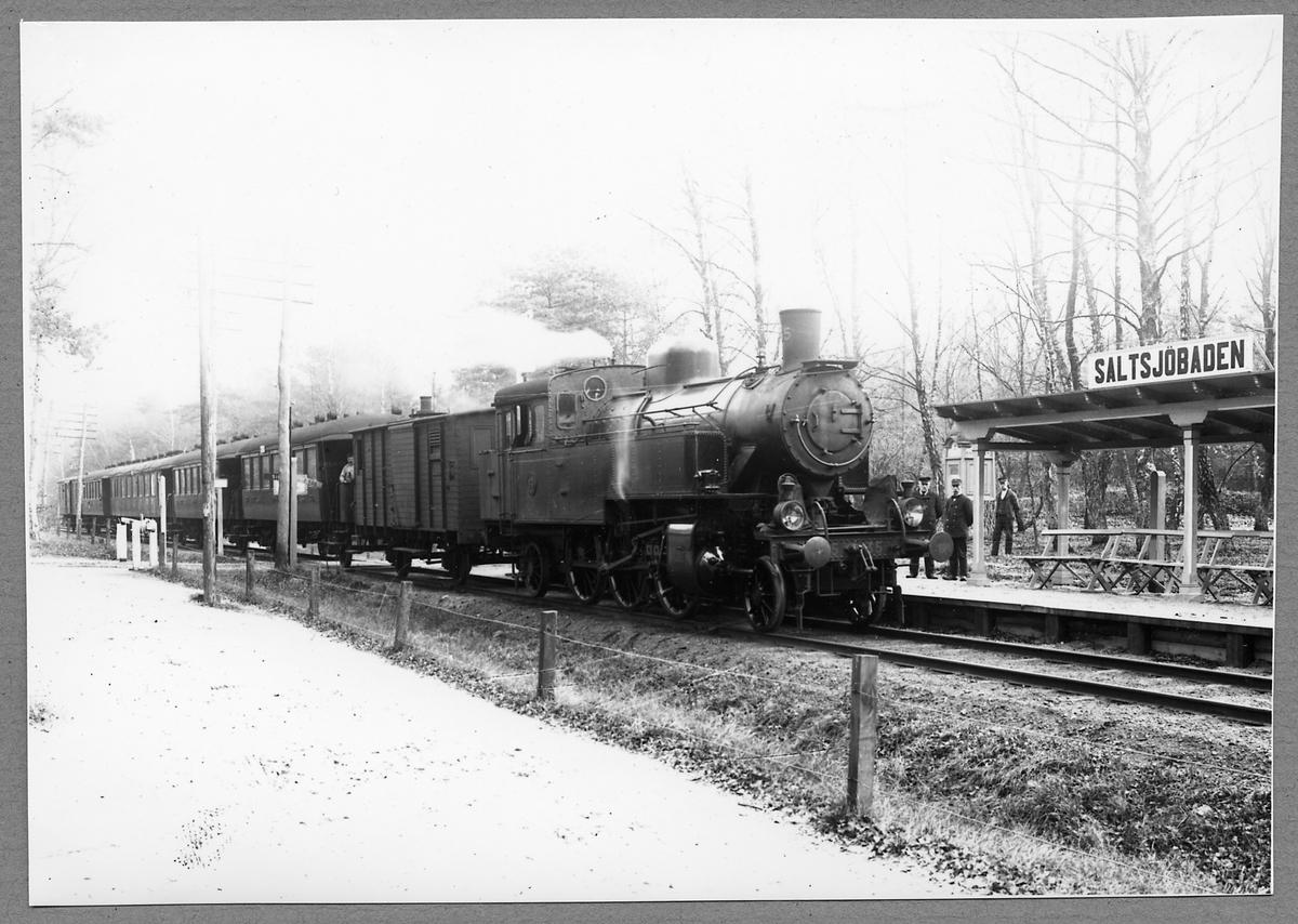 Malmö-Ystads järnväg, MYJ Lok 35 vid Ystad Salsjöbads hållplats på 1920-talet.