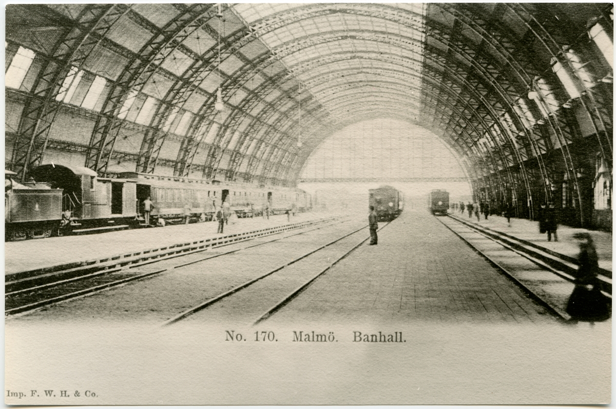 Malmö C banhall byggd 1891 av Motala Verkstad. Revs i oktober 1922, för de nya hallarna