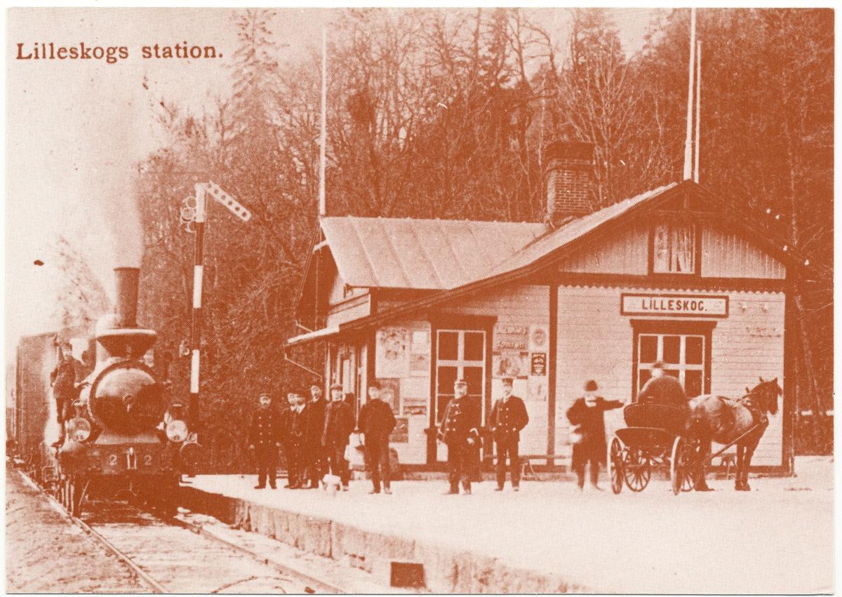 "Vykort föreställande Lilleskogs station.  Uddevalla - Vänersborg - Herrljunga Järnväg UWHJ Lok 2 ""WENERSBORG""."