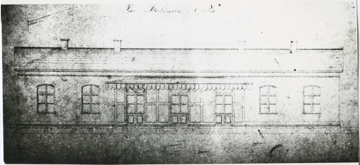 Del av ritning på första stationshuset i Örebro tillhörande Köping - Hults Järnväg (HKJ)