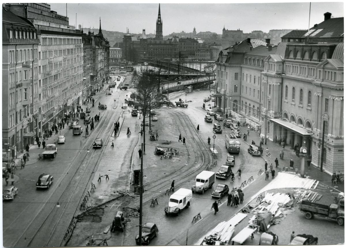 Vasagatan, omläggning för tunnelbanebygge.