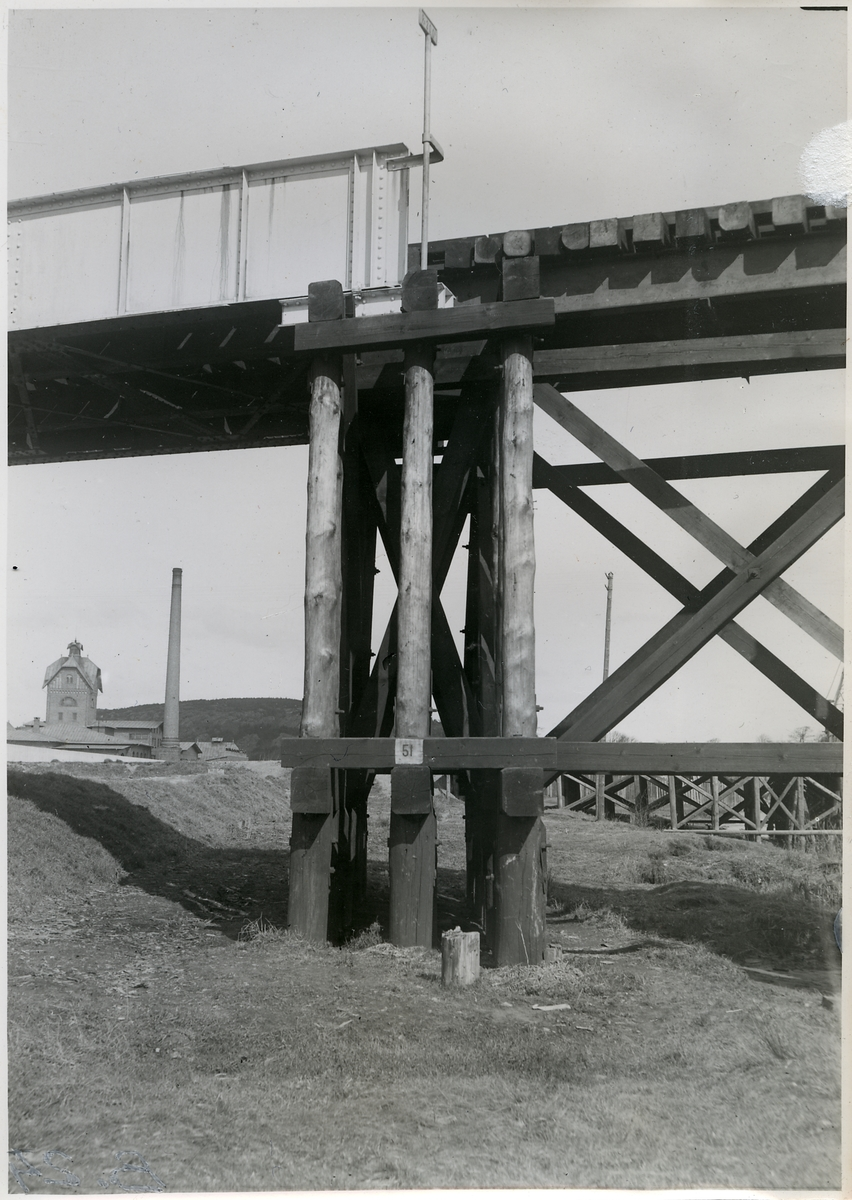 Provisorisk viadukt vid Olskroken.