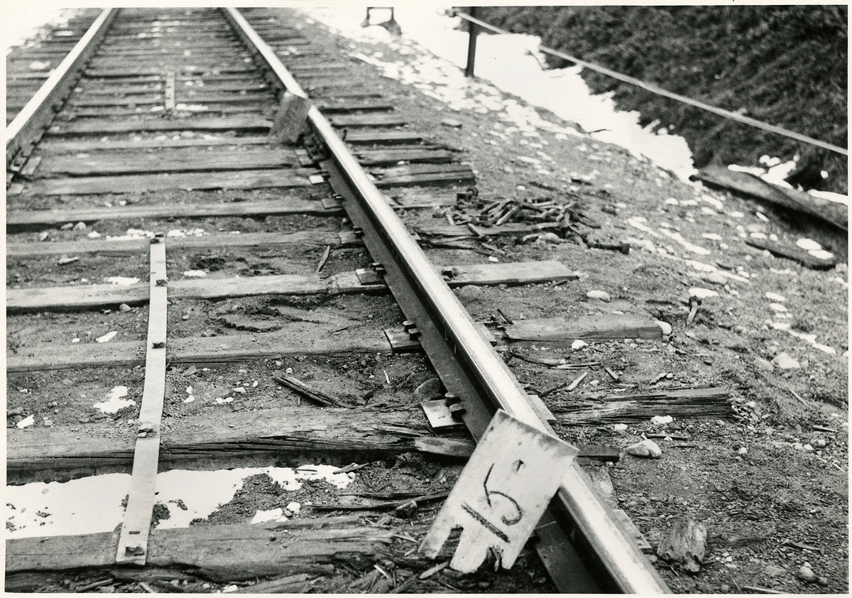 Del av bangården efter olyckan 1956-03-29 då tåg 93, 'Nordpilen, spårade ur vid Granbo station.