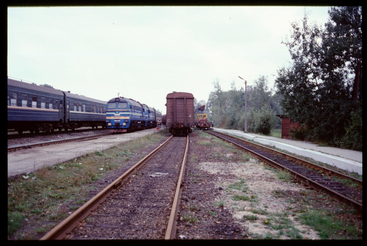 Bangård, med tåg och diesellok.