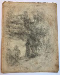 Pike ved elvebredd [Tegning]
