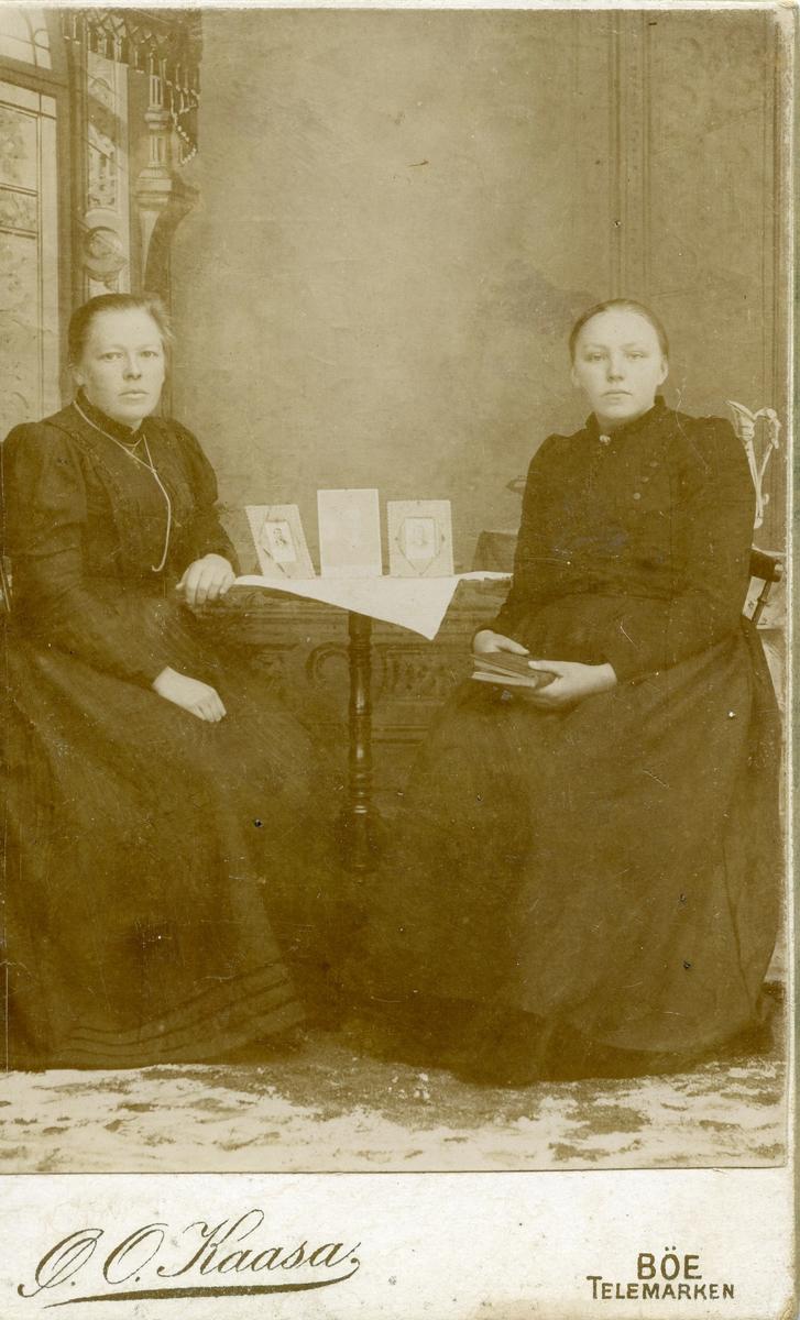 Atelierfoto av to ukjente kvinner