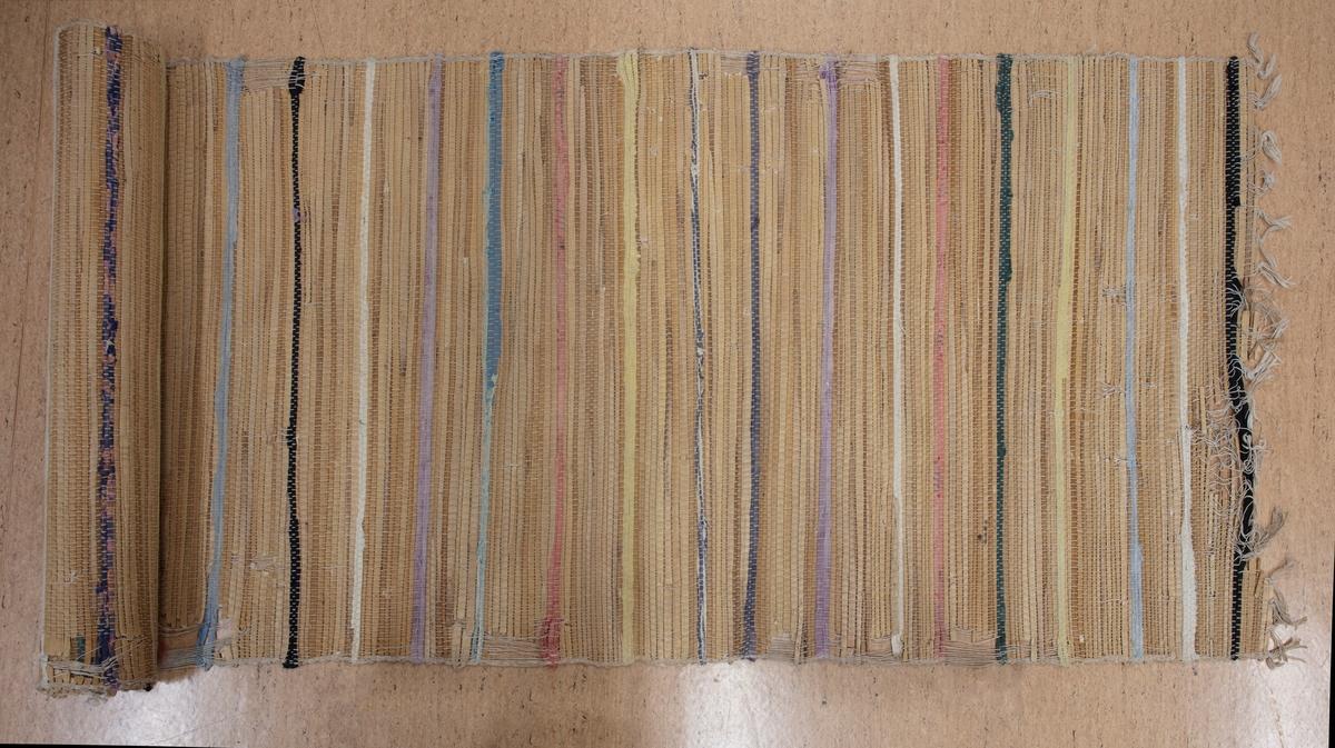 Matta med inslag av säv, eller kolvass (schoenoplectus lacustris) samt textiltrasor i randat mönster. Varp av bomull.  Katalogbilaga finns.