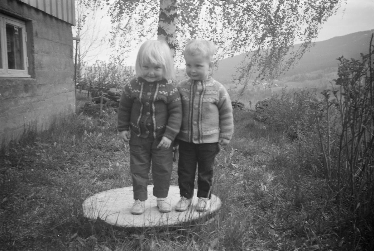 Portrett av to små barn