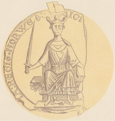 Segl av Kong Haakon Haakonsson datert 1247/48. Kilde: Wikimedia