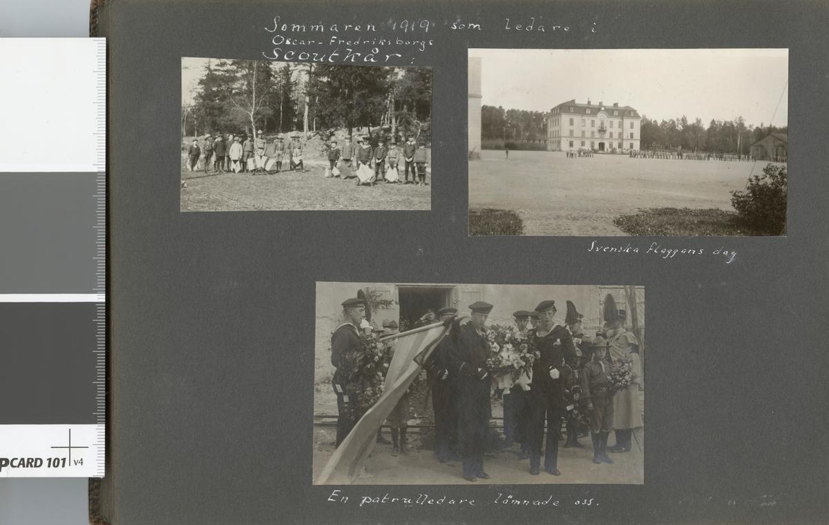 """Bildtext: """"Sommaren 1919 som ledare i Oscar-Fredriksborgs Scoutkår. En patrulledare lämnade oss."""""""