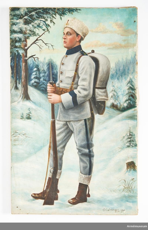 Målning utförd i olja föreställande en soldat vid namn Helge som befinner sig i ett idylliskt vinterlandskap iförd uniform m/1910 samt beväpnad med ett gevär. Målningen saknar ram.