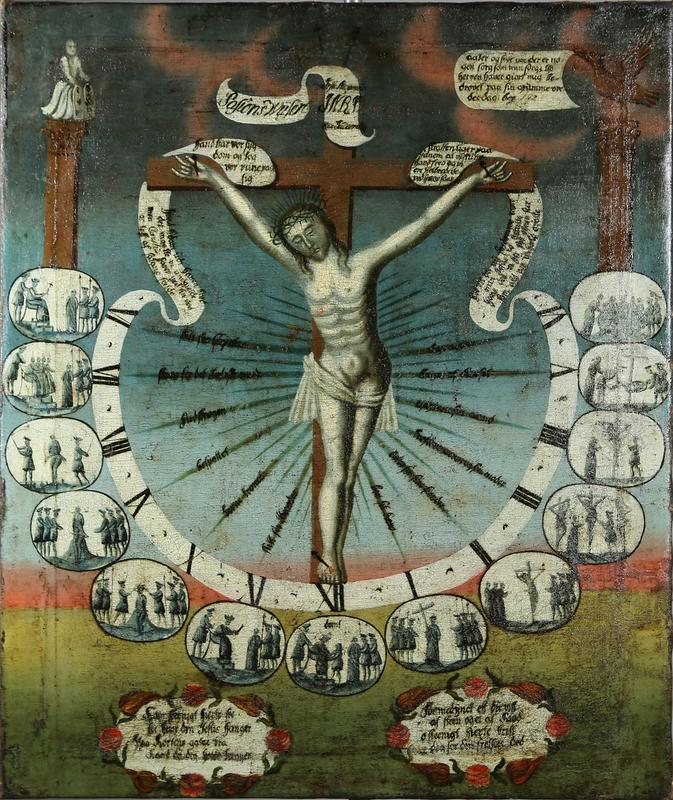 Pasjonsviser som illustrerer Jesus' lidelseshistorie. Jesus på korset er omgitt av en urskive og bilder som viser historien time for time gjennom Langfredag, fra seks om morgenen til seks om kvelden. Foto: Emir Curt (Foto/Photo)
