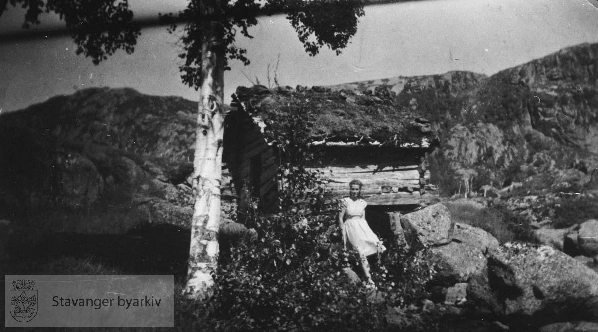 Landskap med kvinne foran lite stabbur
