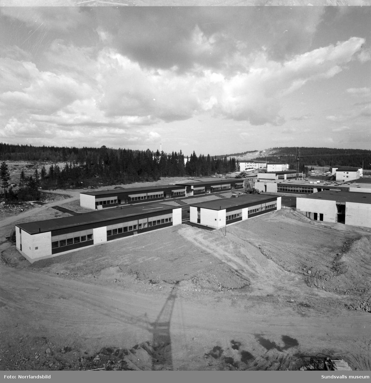 Översiktsbilder över det framväxande området i Bosvedjan med fokus på skolan.
