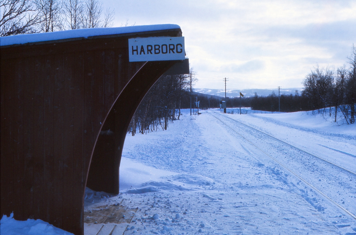 Harborg holdeplass. Høyeste punkt på Rørosbanen. 670 moh.