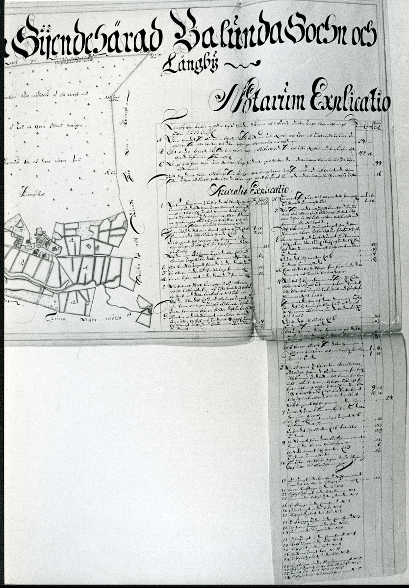 Badelunda sn, Anundshögsområdet, Långby. Karta över Långby, Notarum Explicatio.