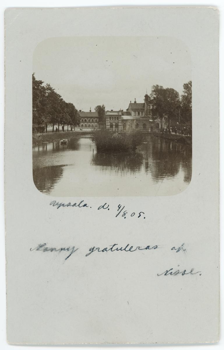 Brevkort - Svandammen och Vattenledningsverket, idag Pumphuset, Uppsala 1900-talets början