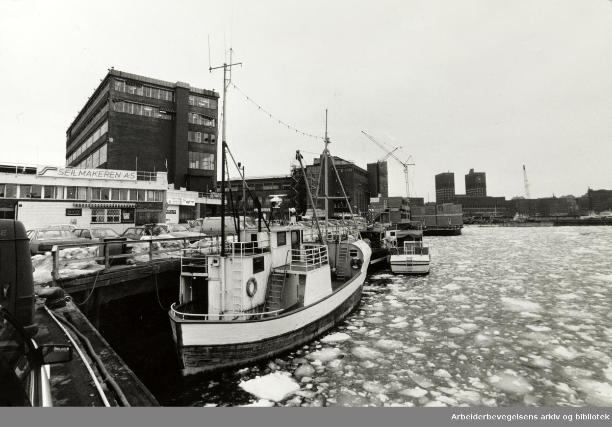 Havna. Mye is på fjorden. Mars 1986