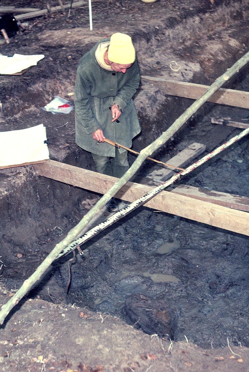 Köping sn, Norsa. Norsa RAÄ 131, grav 1. Else Nordahl mäter in skelettrester på ritning. 1964.