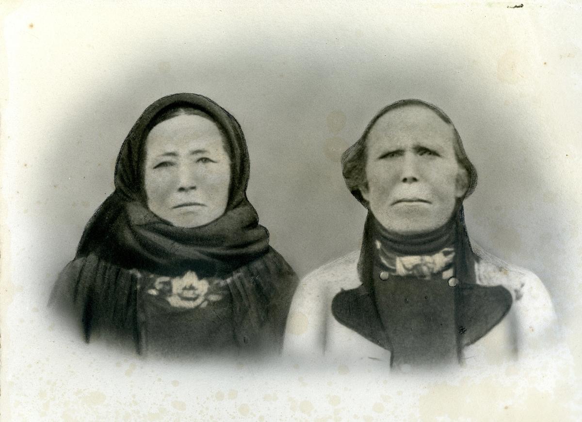 Samansett parbilete av Augon Olsen Haatveit og kona Aslaug Jonsdotter Bergan (g. Haartveit)