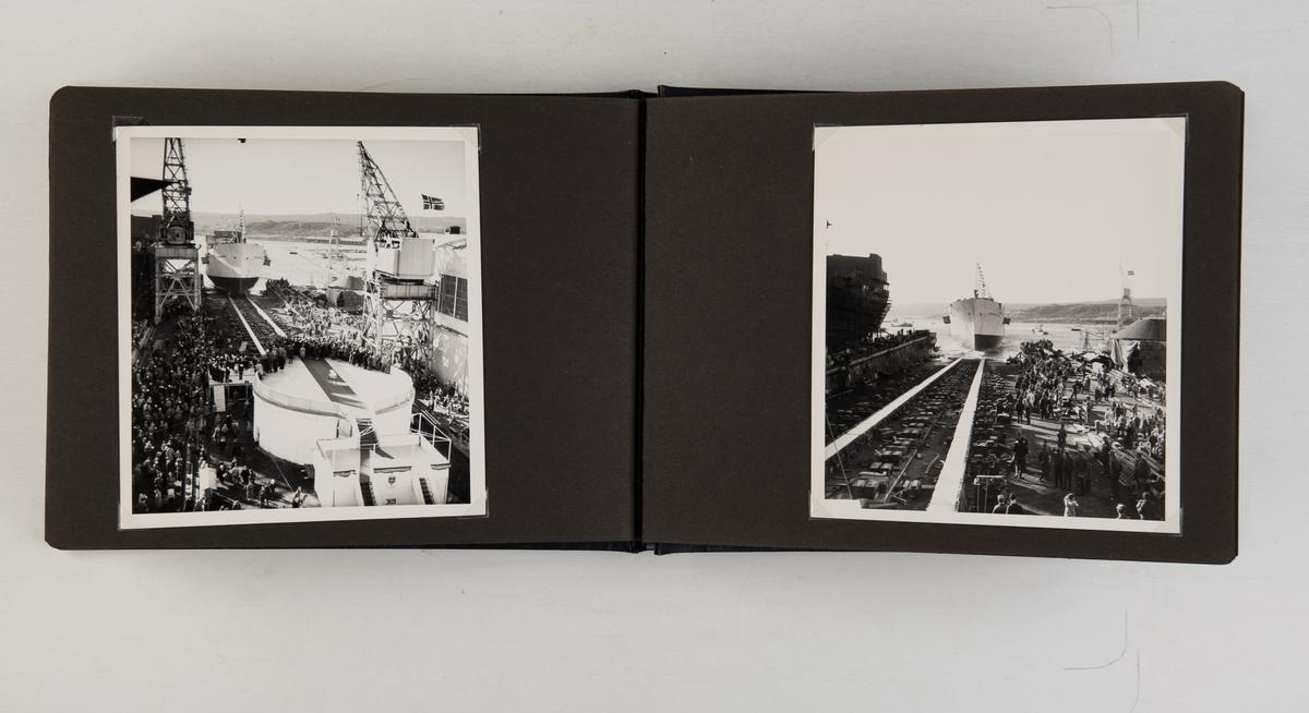 Album med 20 fotografier av M/T 'Mundogas Brasilia', bygget av A/S Fredriksstad mekaniske verksted for A/S Sobral, v/ Øivind Lorentzen. Sjøsatt 14. mars 1961.