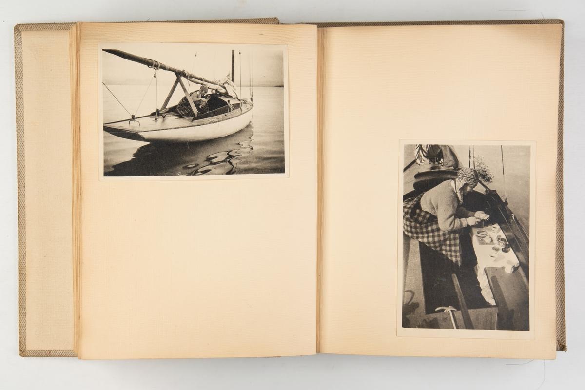Album med fotografier fra reiser med lystbåt og turer i utmark
