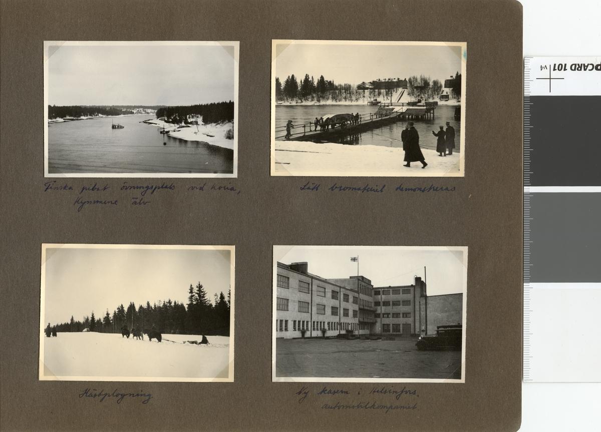 """Text i fotoalbum: """"Studieresa med general Alm till Finland 1.-12. mars 1939. Lätt bromateriel demonstreras."""""""