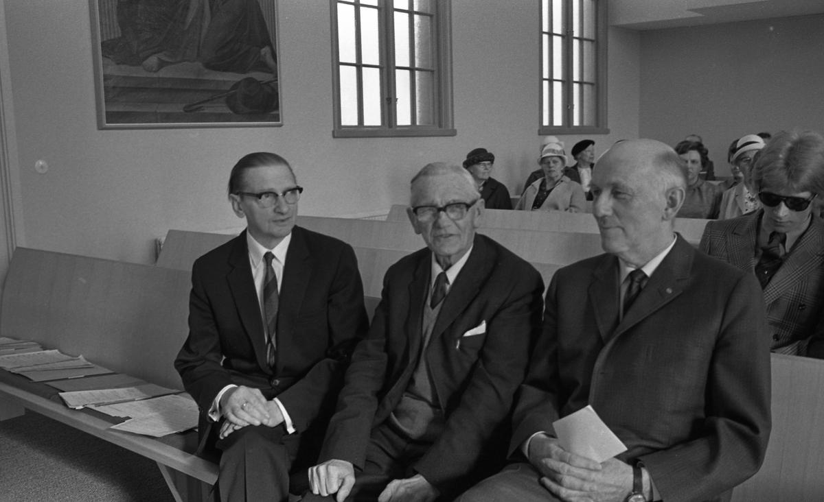 Kommunala Musikskolans 25-årsjubileum. Elwing Björklund, Sven Kock och Bror Gustavsson. Sven Kock kom till Arboga i början av 1940-talet. Han och Bror Gustavsson lade grunden till musikskolan.