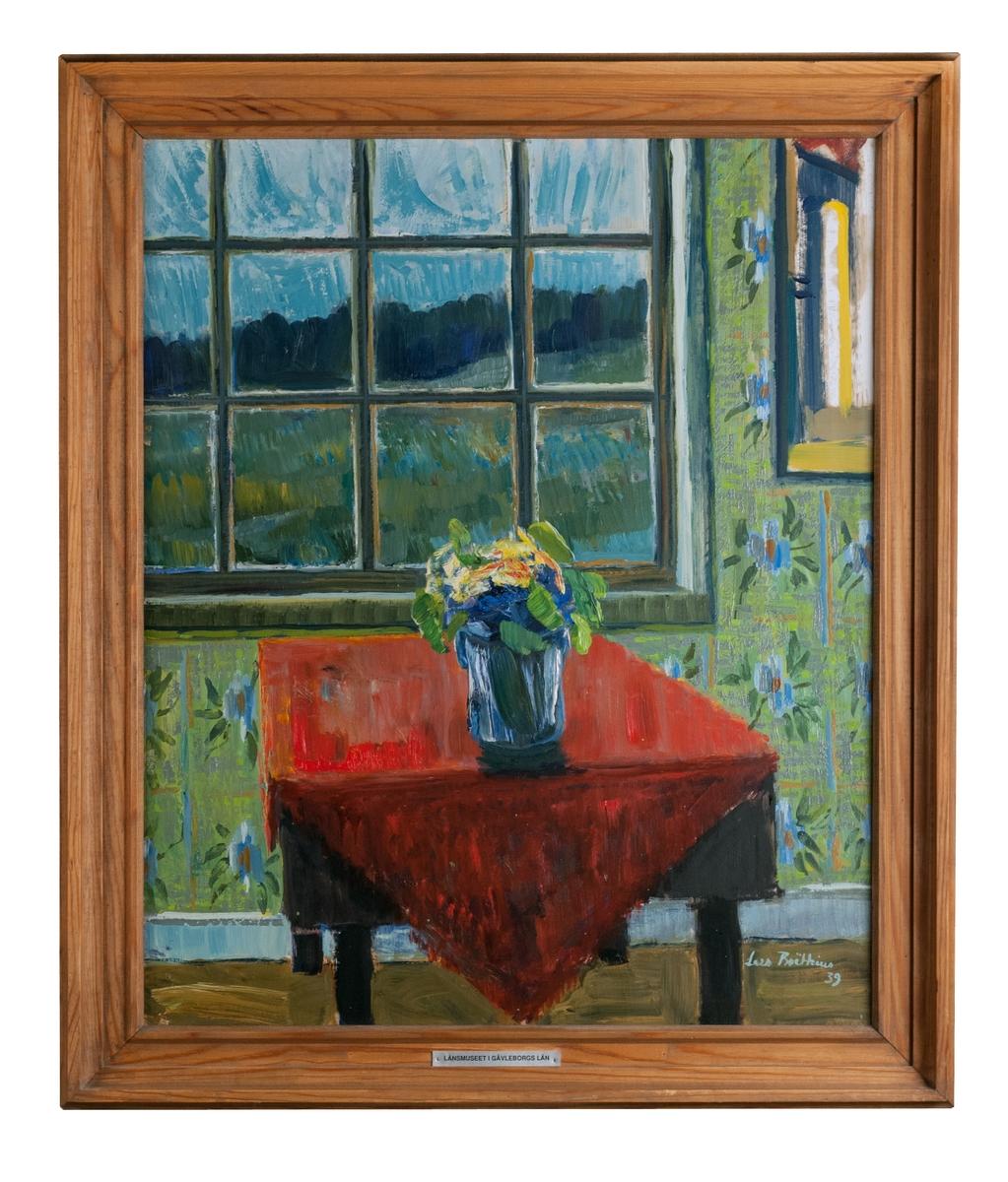"""Oljemålning, """"Fönsterbordet"""" av Lars Boëthius 1939. Profilerad träram."""