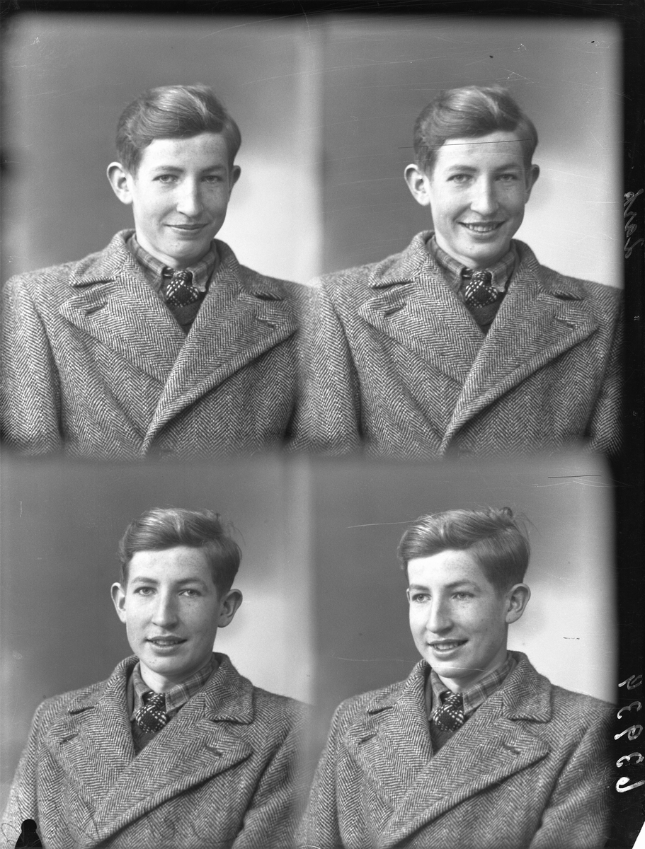 Portrett. Mørkhåret gutt/ungdom i grå vinterfrakk med fiskbeinsmønster, rutet skjorte og rutet slips. Bestilt av Kjell Nessheim