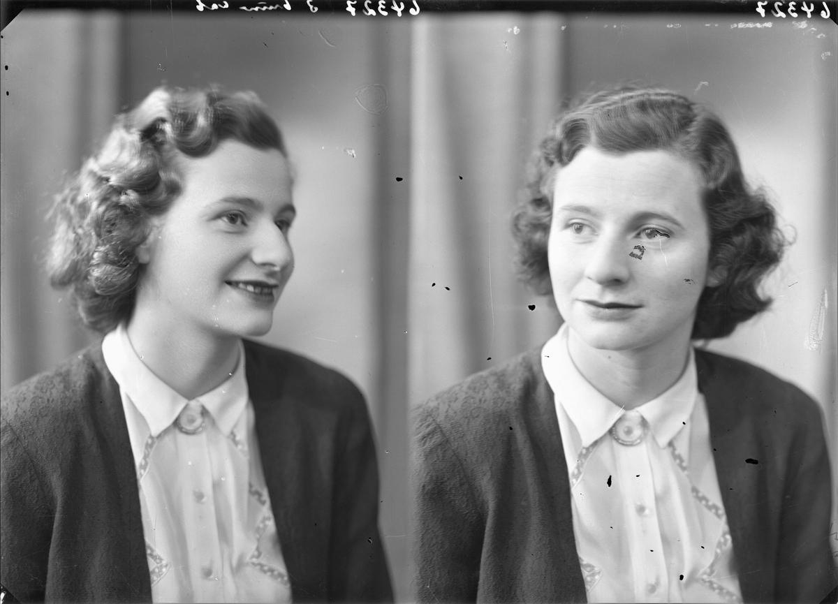Portrett. Ung mørkhåret kvinne i mørk strikkejakke og lys mønstret skjorte.. Bestillt av Lilla Østensjø. Losgt. 29