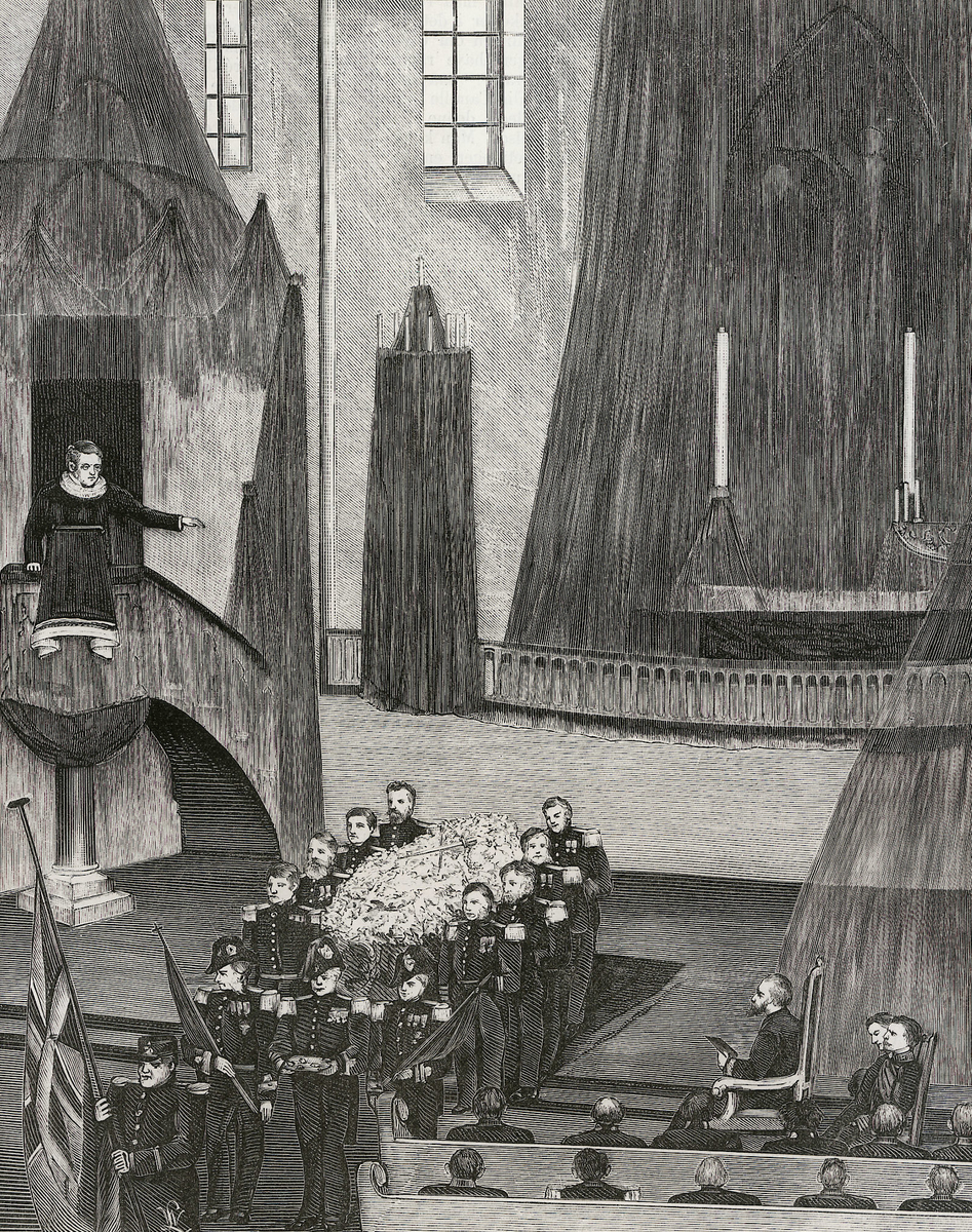 interiør, kirke, begravelse, kiste, prest, prekestol