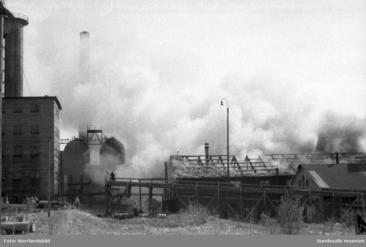 Släckningsarbete vid en brand i Söråkers massafabrik och verkstadsskola.