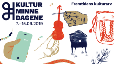 """Tegninger av ulike elementer fra norsk kultur gjennom tidene """"svever"""" rundt på dette plakatbildet for Kulturminnedagene 2019."""