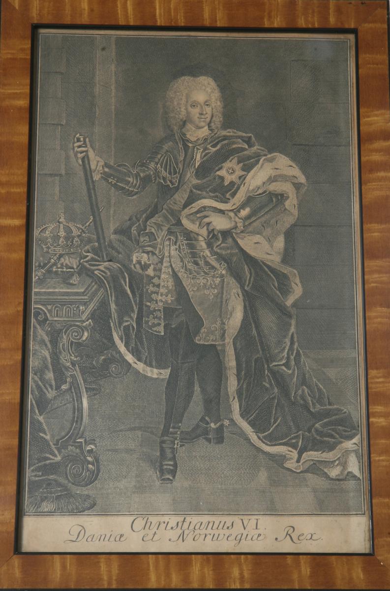 Glass, brun og sort ramme, portrett av Christian VI.