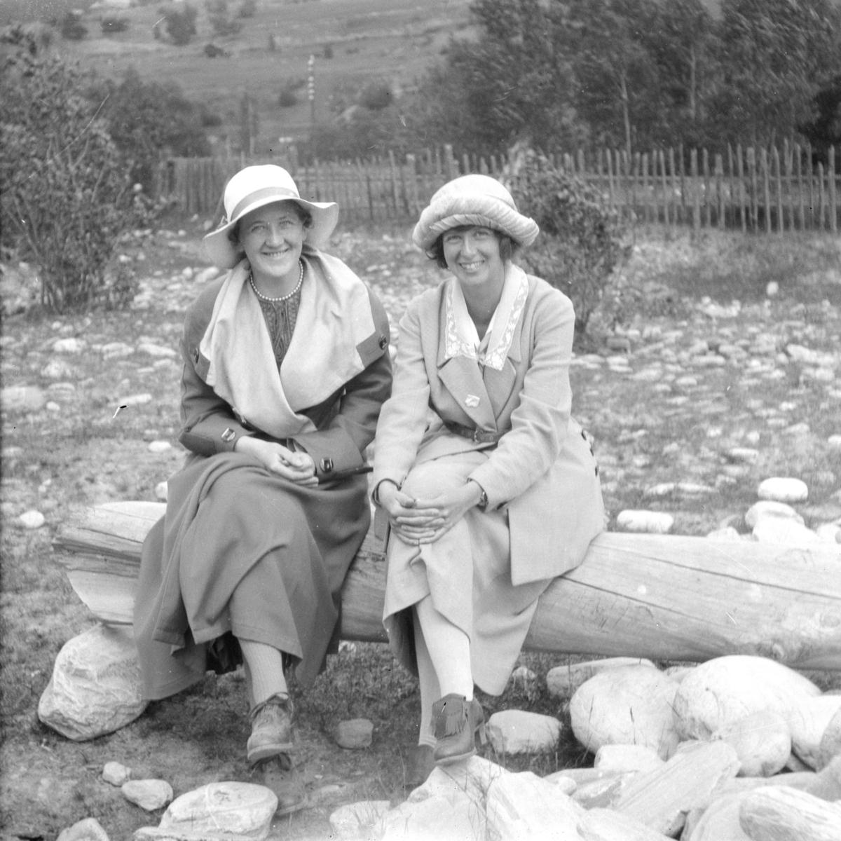 To kvinner sittende på en trestokk.