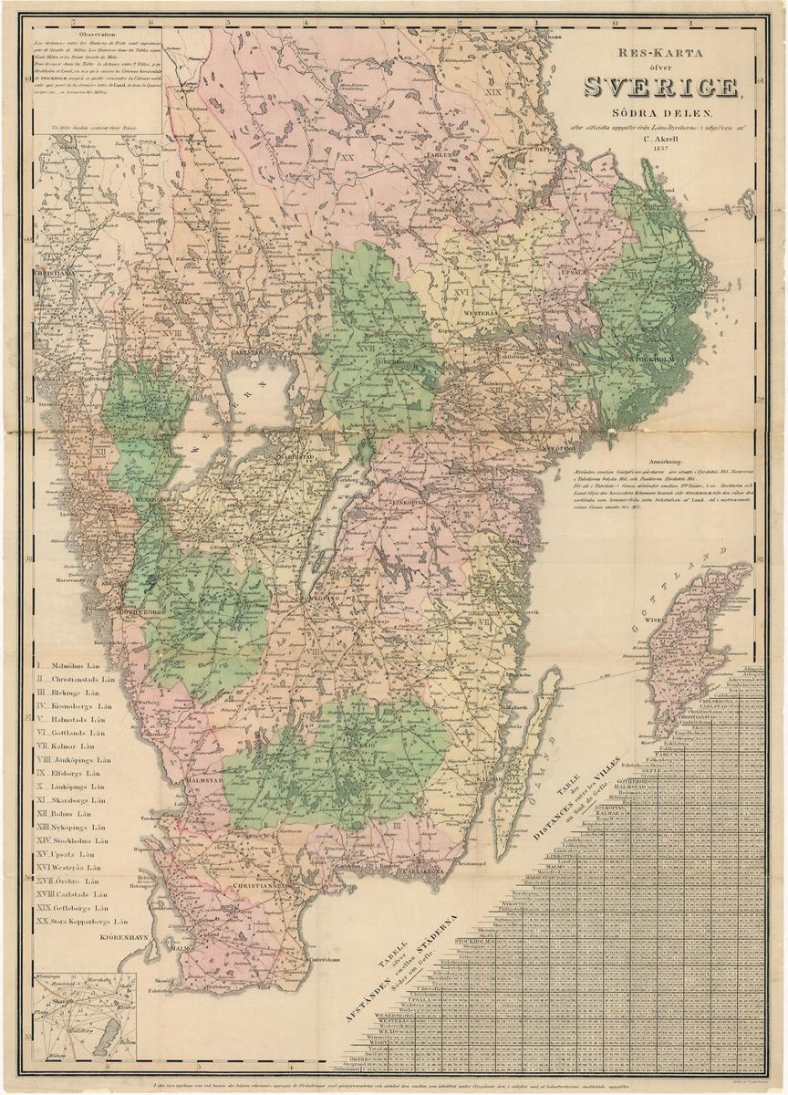 Reskarta över södra Sverige, med avståndstabell, daterad 1857 i Stockholm, utförd av C Akrell och graverad C Andersson (efter officiella uppgifter från Länsstyrelsen).   Kartan kolorerad för hand och tryckt på papper, uppfodrad på väv.