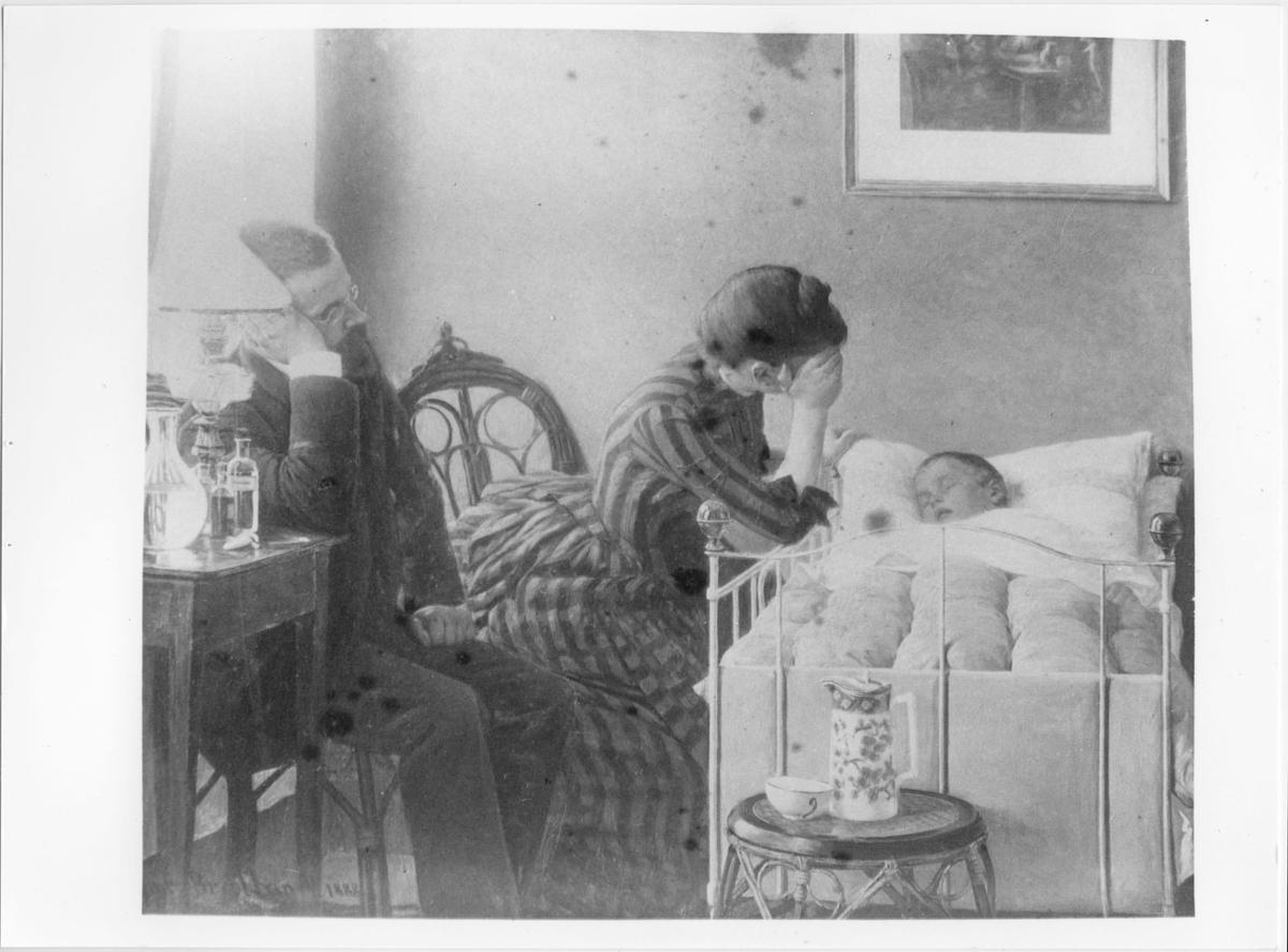 Maleri av sykt barn i en seng med foreldre