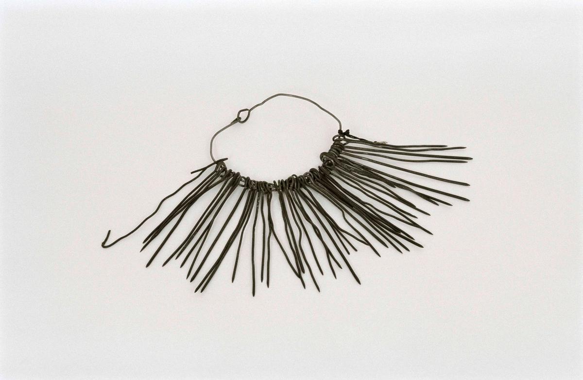 En samling korvstickor, 48 st. av järn, upphängda på en ring av ståltråd. Stickorna spetsiga och olika långa, en avbruten.