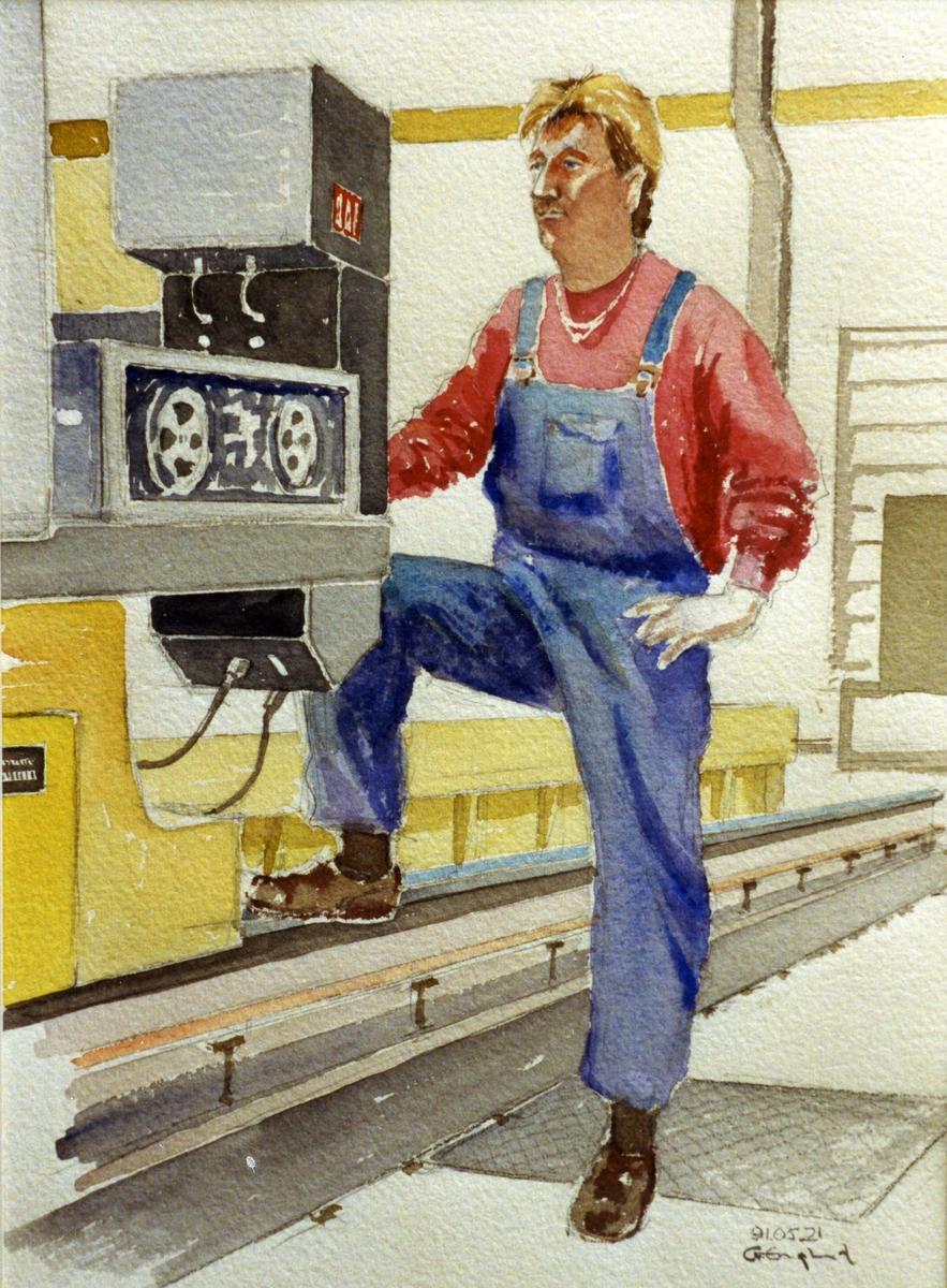 Per Andersson. 1991.05.21. AGEVE. Georg Englunds akvareller av/till arbetarna i Gävle när AGEVE flyttade 1993. En utställning i Paris 1993. Akvarellerna ställdes även ut i lunchrummet på AGEVE.